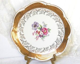 SALE - vintage serving plate serving platter serving dish porcelain dish floral serving plate shabby chic floral plate