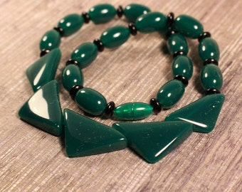 Avon Color Waves Necklace Green Onyx - Vintage 1987