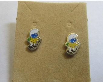 On Sale 1980s Enameled Smurf Earrings Item K # 2554