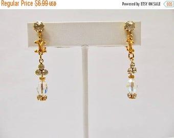 On Sale Vintage Prong Set Rhinestone and Aurora Borealis Crystal Dangle Earrings Item K # 1310
