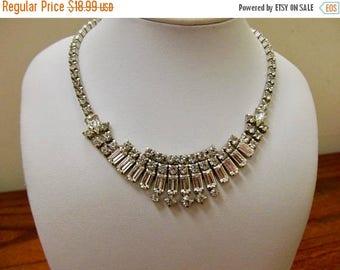 On Sale Vintage Prong Set Rhinestone Necklace Item K # 833