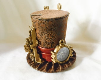 Tiny Top Hat: Steam Punk Explorer Paisley - Lolita Cosplay Costume Party Fascinator Photo Photography Prop Wedding Tophat Small Miniature