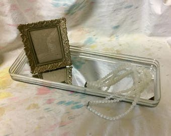 Vintage Acrylic Vanity Tray Mirrored Glass Rectangle Vanity Mirror