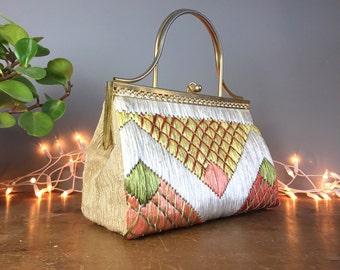 Vintage 1940s Handbag, Kelly gladstone bag, mid century fashion, 1950s pinup purse