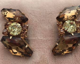 1950s Vintage RHINESTONE Earrings Clip on Earrings Topaz & Citrine Faceted Glass Stones NOS Old Store Stock Never Worn Glamous Earrings