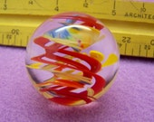 Large happy clear lampwork glass marble colorful ribbons swirling suspended flamework glass art marble