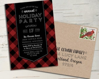 Buffalo Plaid Holiday Party Invitation || Printable Invitation || Christmas Card