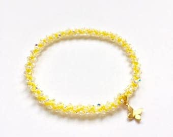 Manipura Solar Plexus Chakra, golden butterfly charm, Swarovski crystal, beaded crochet, stackable, yoga charm bracelet