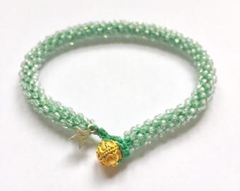 Anahata- heart chakra, Swarovski crystal, golden button bead, beaded crochet, stackable, yoga bracelet