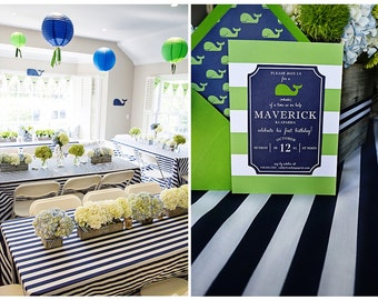 """Navy Blue and White, 1 DAYFREESHIP, Navy Striped Tablecloth, Nautical, Beach Wedding, Baby Shower, 2.5"""" - 4"""" stripes, CHOOSE size"""
