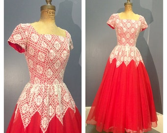CUSTOM MADE Designer 1950's Vintage 1950s Red Chiffon Harlequin White Lace Holiday Evening Gown Party Cocktail Dress w Built-In Crinoline S