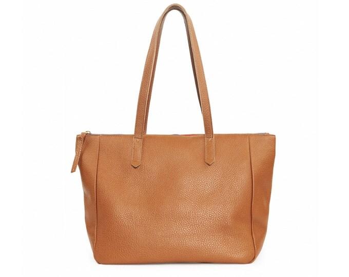 Large brown leather shoulder bag, women tote bag, everyday shoulder bag