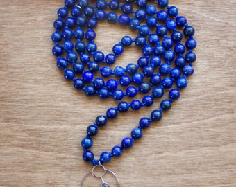 The Intrinsic Intuition Mala Necklace, Lapis Lazuli, Labradorite, Intrinsic Journeys Jewelry, Sterling Silver, 100% Silk, Mala Beads