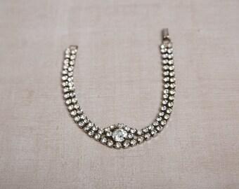 VINTAGE silver rhinestone bracelet bridal jewelry