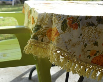 That 70s tablecloth Vintage Fringed Round Tablecloth. Outdoor round tablecloth. Cotton floral tablecloth.