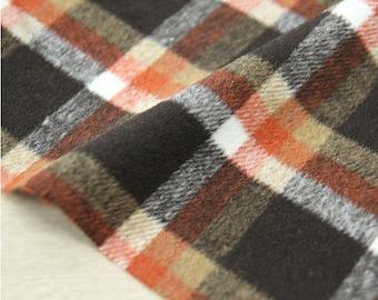 Wool Blend Plaid Fabric, Brown Orange Plaid Fabric - By the Yard 95962
