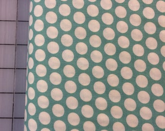 Half Yard cut of Organic Cotton - Mod Basics - Dottie Cream - MB-01-Teal