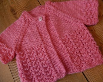 sweet hand knitted baby girl short sleeve cardigan/sweater pink 0-3 month