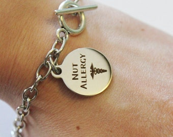 Nut allergy silver medical alert bracelet, stainless steel, medical alert, nut allergy