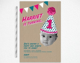 Girls Printable 1st Birthday Invitation in Pink and Turquoise