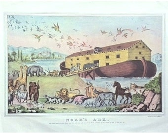 Vintage Noah's Ark, Animal Print, Biblical Print, Nathaniel Currier, Creatures, Nursery Print, Reproduction
