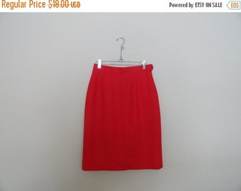 SALE Red Wool Skirt Mad Men Holiday Party Christmas Classic Size 8 S M Made in Canada