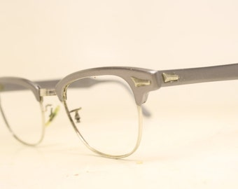 Gray Browline 1950's Wire Rim Eyeglasses G Man Clubmaster Style Malcolm X glasses g man eyeglasses