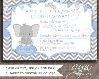 Elephant Baby Shower Invitation Little Peanut Baby Shower Invitation Boy Elephant Baby Shower Invitations Printable Invites Baby Shower
