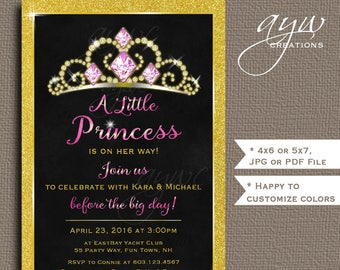 Princess Baby Shower Invitation Gold Glitter Princess Baby Shower Printable Invitation Baby Shower Princess Invite Pink Gold Shower Tiara