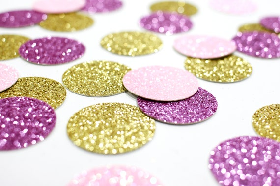 "Lavender + Gold + Light Pink Glitter Confetti - 1"" - Wedding. Bachelorette Party. Bridal Shower. Baby Shower. Mermaid Party. First Birthday."