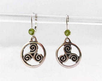 Silver Celtic Triskele Earrings with Peridot Green Crystal