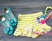 Little Lady's Daffodil Hill yellow stripe ruffle shorts 2T