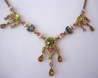 Avon Vintage Rhinestone Faux Pearl Drop Choker Necklace Adjustable Gorgeous Combination of Green Pink Orange Blue Gold Tone Metal Dainty
