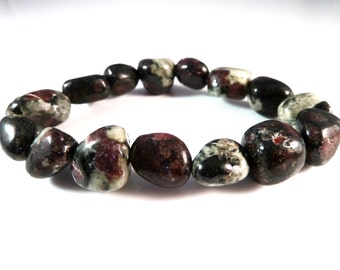 Eudialyte Stretch Bracelet 12mm Smooth Tumbled Polished Nuggets Russian Gemstone Beads Rare