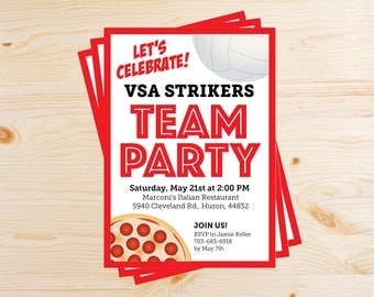 Editable Volleyball Team Pizza Party Invitations - INSTANT DOWNLOAD PRINTABLE - Red and Black