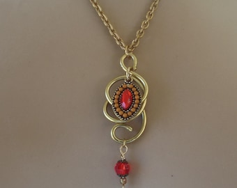 Gold Tone Wire Spiral Pendant with Red Bead Focal and Dangle Handcrafted One-of-a-Kind