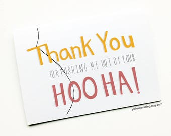 Mothers Day Card, ThankYou For Pushing Me Out Of Your HooHa, Thank you Card, Funny Mothers Day Card, Card for Mom, Alternative Mothers Day