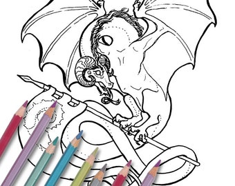 """Printable coloring page: """"Wyvern"""" Instant download - PDF - ram horn dragon"""