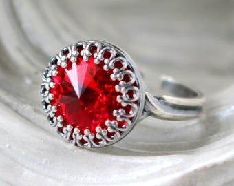 Cherry Red | Princess Crown Ring | Swarovski Crystal Ring | Adjustable | Silver Crown | Victorian Crown Ring | Gift For Her | Bridal Jewelry