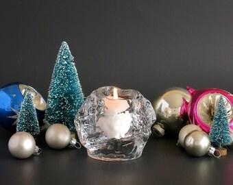Kosta Boda Snowball Votive - Vintage Kosta Boda Crystal Candle Holder - Ann Wärff Design - Scandinavian Christmas Decor - Christmas Candle