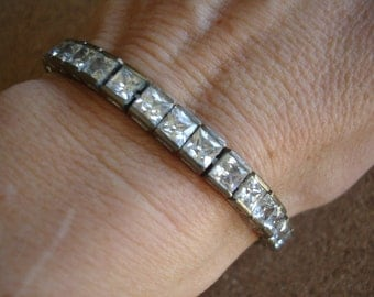 Vintage Silver Metal Square clear Rhinestone Tennis Bracelet - 7.5 inches