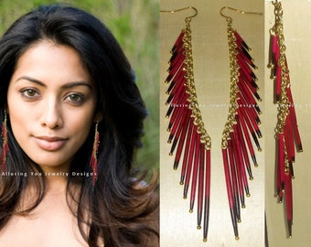 Porcupine Quill Tassel Earrings, Red Porcupine Quill Earrings, Tribal Earrings, Fringe Earrings,Taxidermy Earrings, Red Earrings