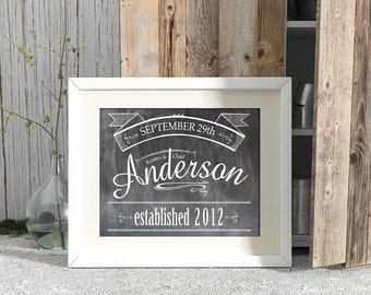 Customized Wedding / Established Date Print - Horizontal Print - Frame Not Included