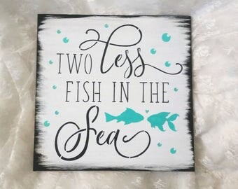 Two less fish etsy for Two less fish in the sea