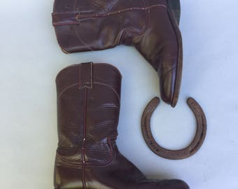Vintage JUSTIN Burgundy Leather Western Boots sz 5