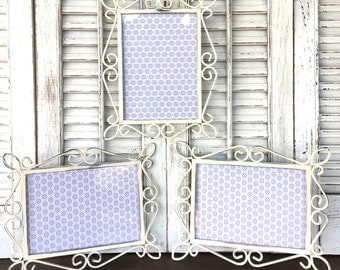 4 x 6 Metal White  Picture Frames  - Set of 3 Wall Frames - White Shabby Chic Wall Decor