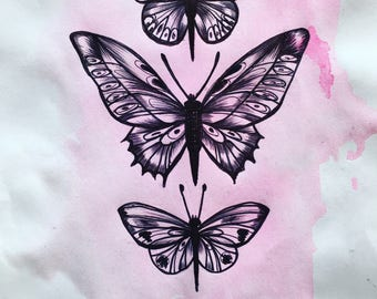 Buterflies in the Pink Mist of the Summer Morning, Original Ink Drawing on ink & Papper