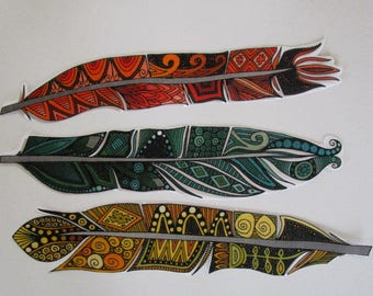 """3 Indian Feathers Patch Large 11"""" Iron On"""