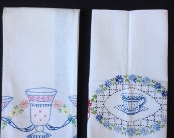 Striped Embroidered Tea Towels - Cups and Flowers - Red and Blue Stripes - Set of Two