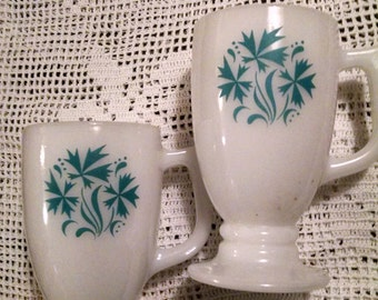 Two  Pedestal Milkglass Mugs/ Footed Coffee Cups/Turquoise Cornflower Design